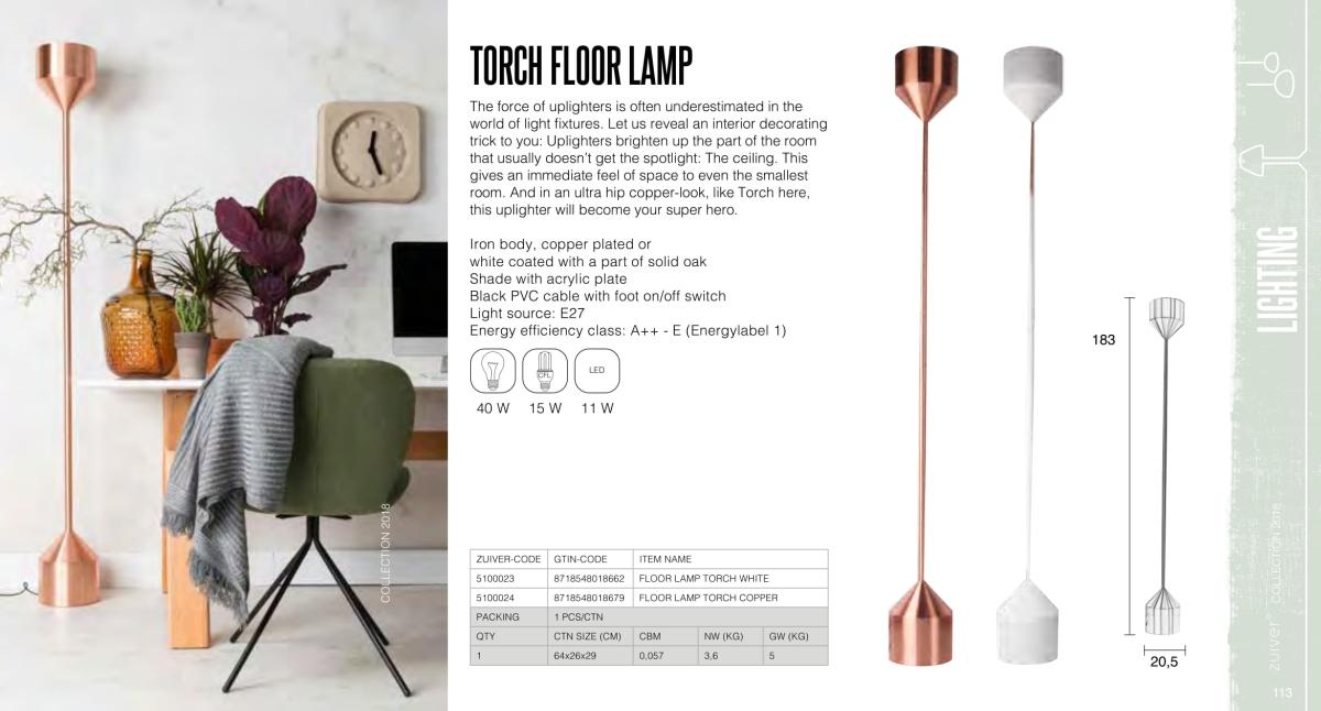 torch floor lamp - lampy zuiver - kolekcja 2018