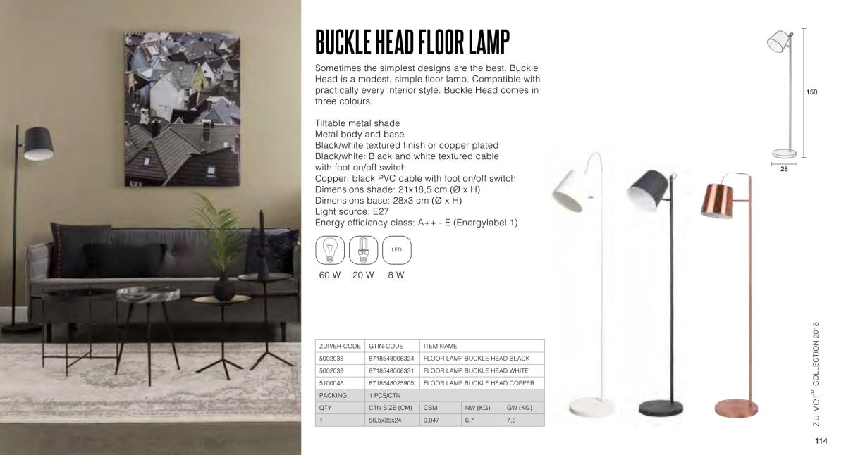 buckle head floor lamp - lampy zuiver - kolekcja 2018