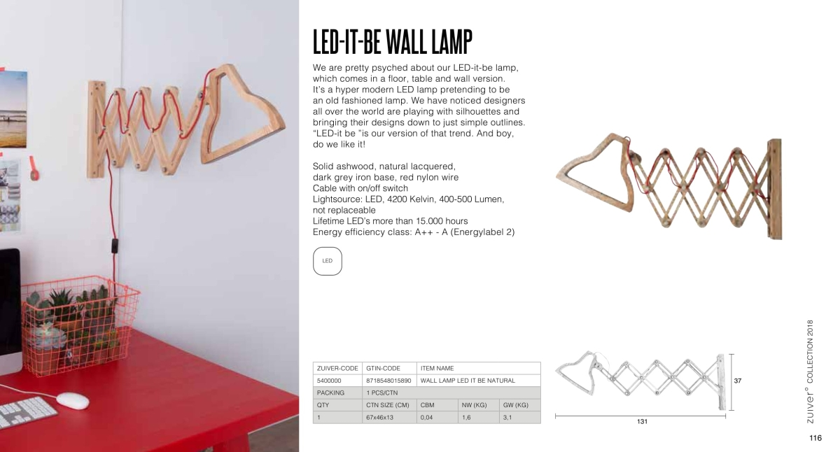 let-it-be wall lamp - lampy zuiver - kolekcja 2018