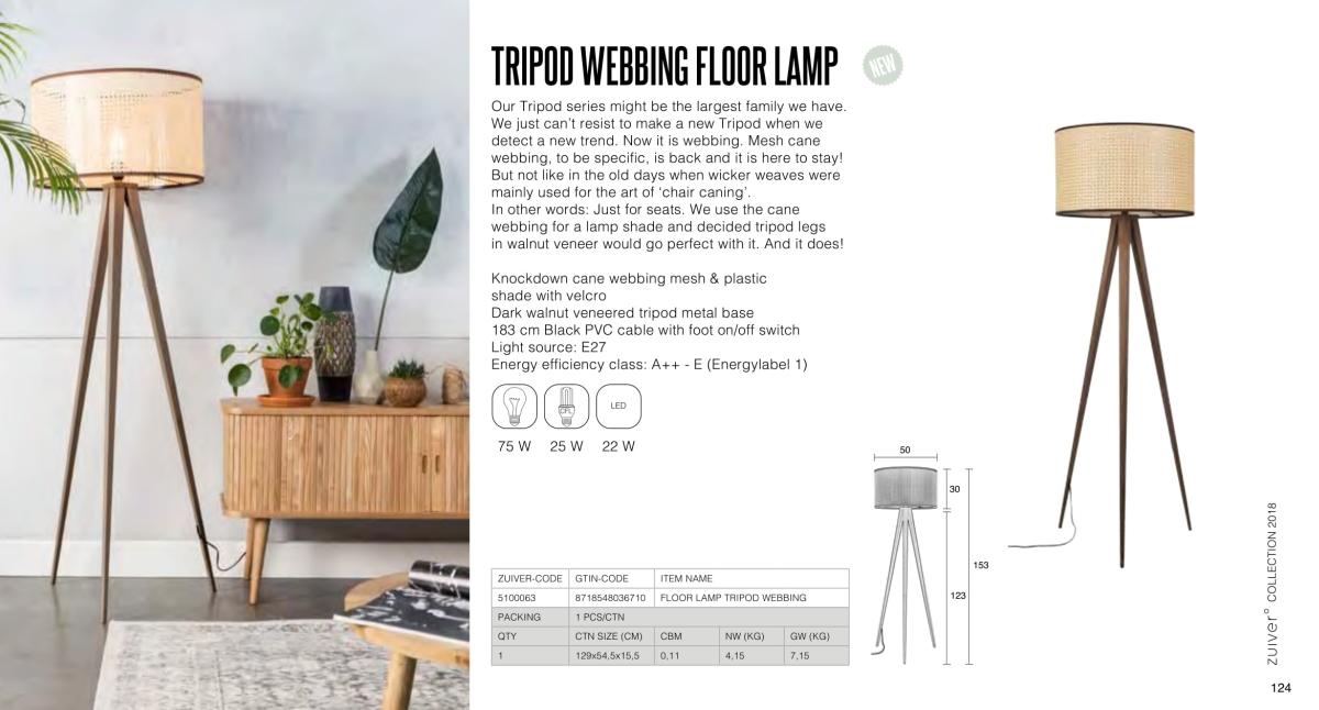 tripod webbing floor lamp - lampy zuiver - kolekcja 2018