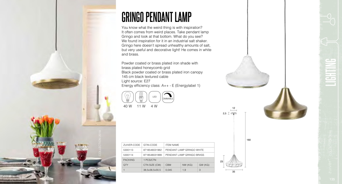 gringo pedant lamp - lampy zuiver - kolekcja 2018