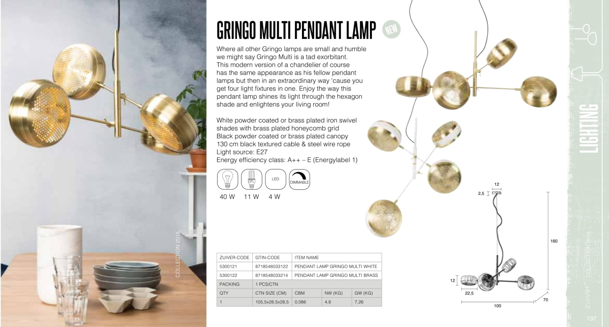 gringo multi pedant lamp - lampy zuiver - kolekcja 2018