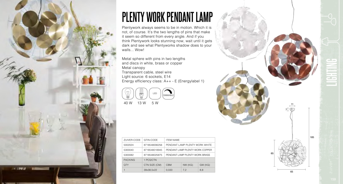 plenty work pedant lamp - lampy zuiver - kolekcja 2018