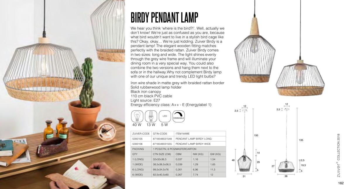 birdy pedant lamp - lampy zuiver - kolekcja 2018
