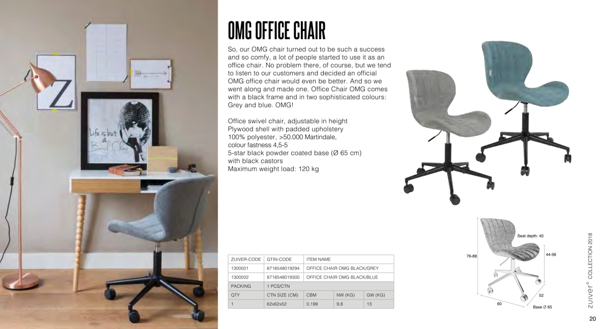 krzesła zuiver 2018 - doulton office chair