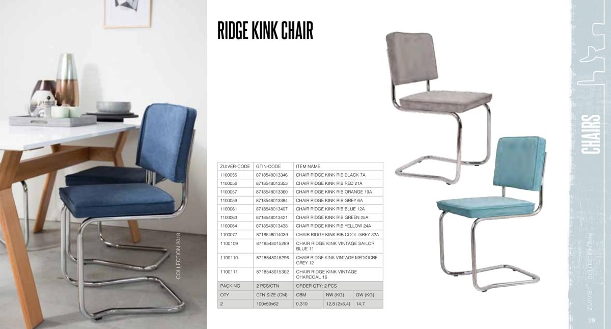 krzesła zuiver 2018 - ridge kink chair