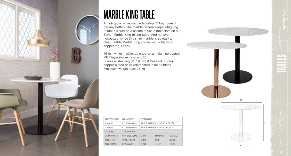 stoły i stoliki zuiver 2018 - marble king table