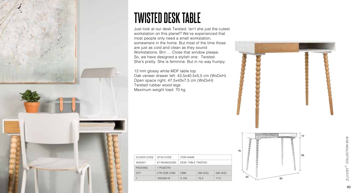 stoły i stoliki zuiver 2018 - twisted desk table