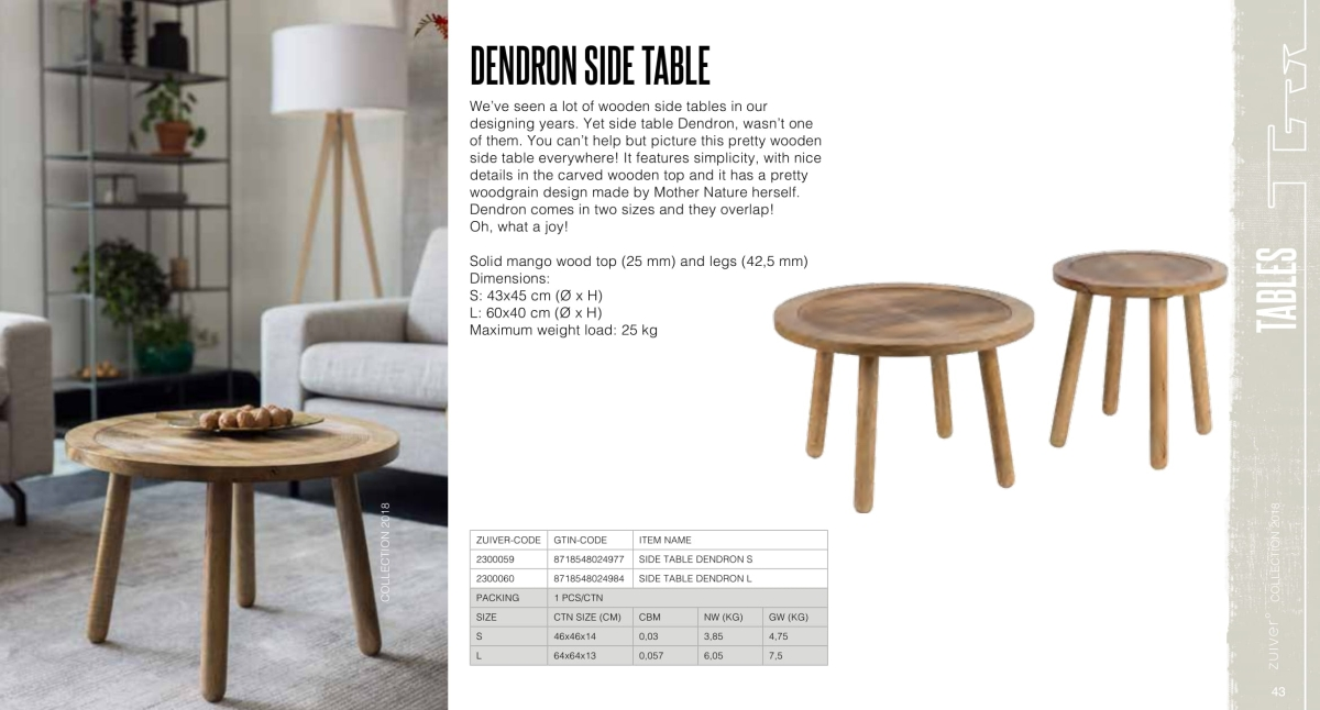 stoły i stoliki zuiver 2018 - dendron side table