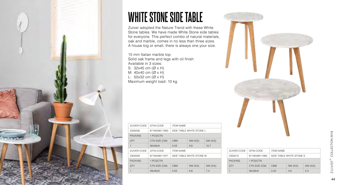 stoły i stoliki zuiver 2018 - white stone table
