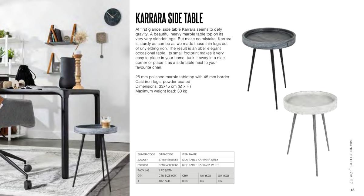 stoły i stoliki zuiver 2018 - karrara side table