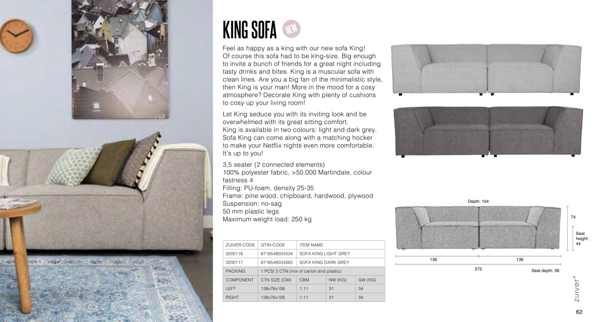 fotele i sofy zuiver 2018 - king sofa
