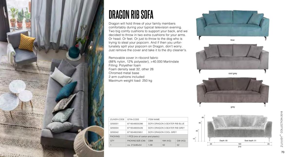 fotele i sofy zuiver 2018 - dragon rib sofa