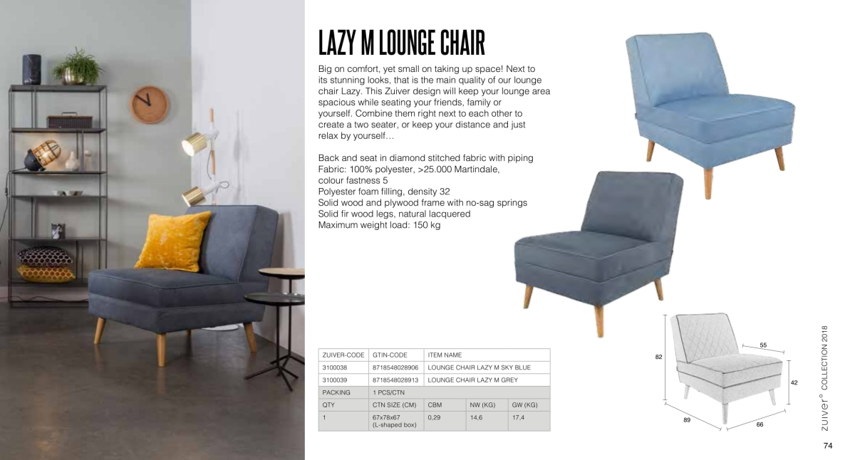 fotele i sofy zuiver 2018 - lazy m lounge chair