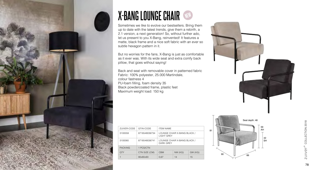 fotele i sofy zuiver 2018 - x-bang lounge chair