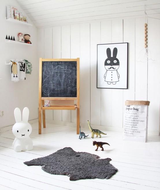 Pokój Dziecięcy W Stylu Skandynawskim - Jasne Deski Na Przytulnym Poddaszu