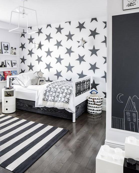 Pokój Dziecięcy W Stylu Skandynawskim - Gwiazdy I Pasy To Ciekawa Dekoracja