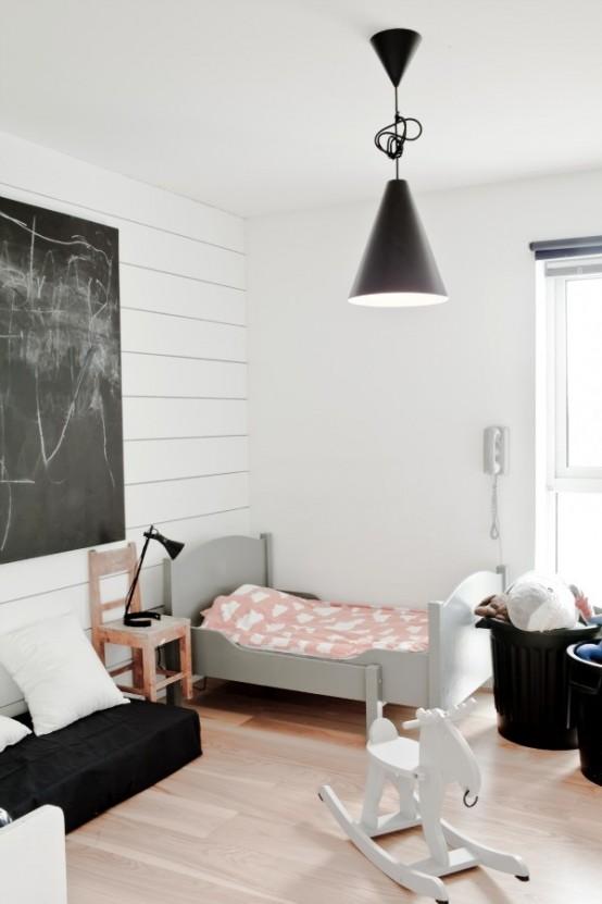 Pokój Dziecięcy W Stylu Skandynawskim - Piękne Meble i Tablica Na Ścianie Do Pisania Kredą
