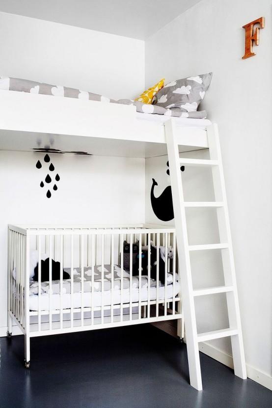 Pokój Dziecięcy W Stylu Skandynawskim - Wariant Z Łóżkiem Piętrowym