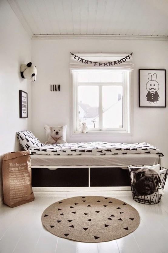 Pokój Dziecięcy W Stylu Skandynawskim - Pod Łóżkiem Znajdzie Się Miejsce Na Zabawki
