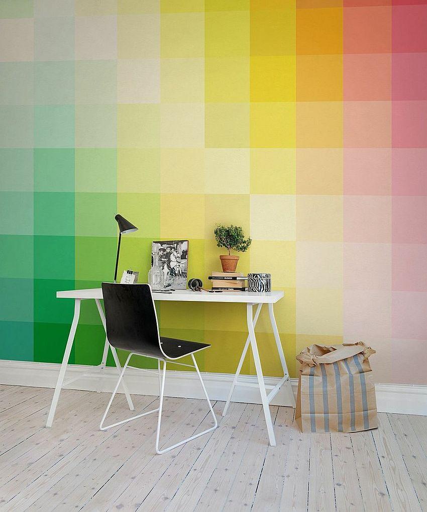 kolorowa fototapeta, piękne biurko - miejsce do pracy styl skandynawski