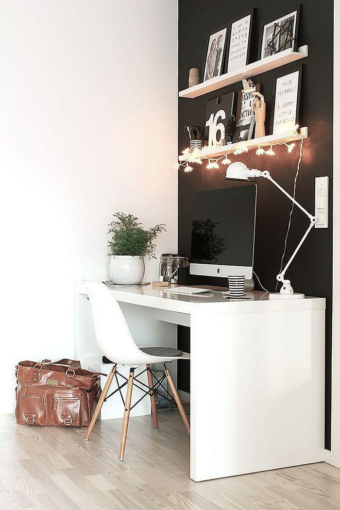 dobre oświetlenie - miejsce do pracy styl skandynawski