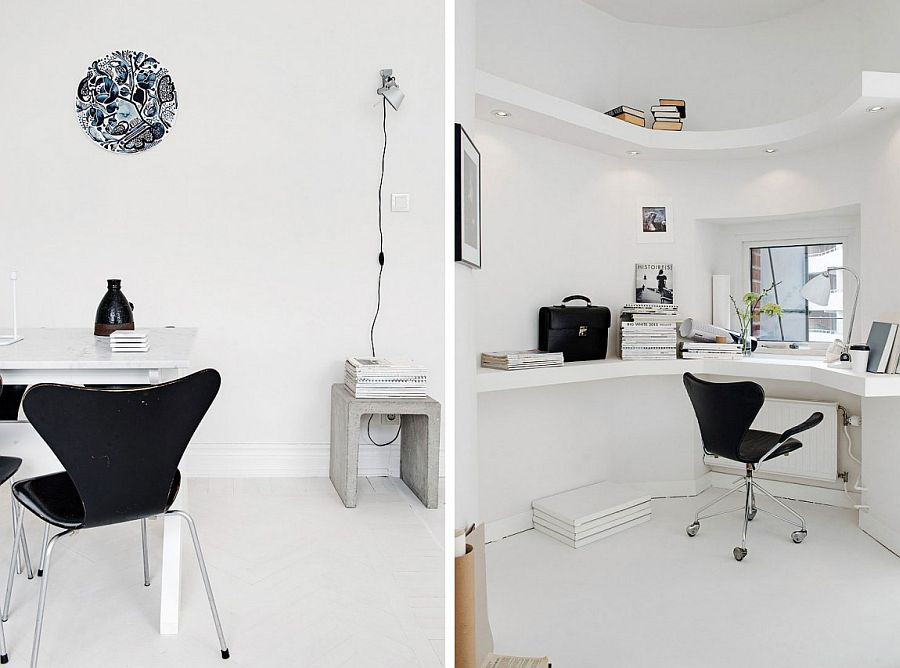 dużo bieli i designerskie dodatki - miejsce do pracy styl skandynawski