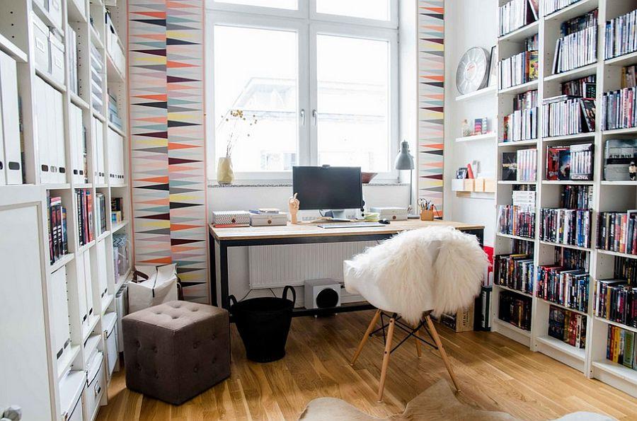 przyjemne miejsce do pracy w długie jesienne wieczory i jasne letnie poranki - domowy gabinet w stylu skandynawskim