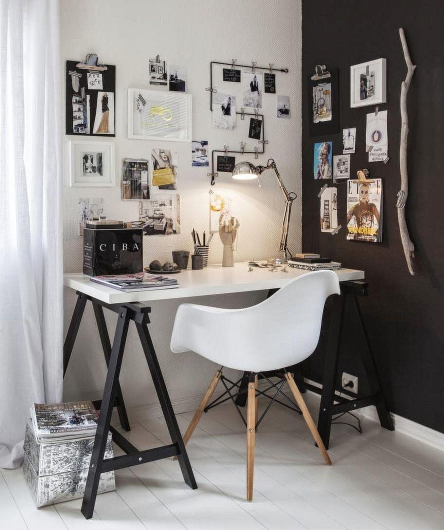 biel i czerń w dobrym połączeniu - domowy gabinet w stylu skandynawskim