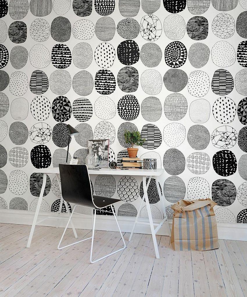 czarno biała fototapeta - domowy gabinet w stylu skandynawskim
