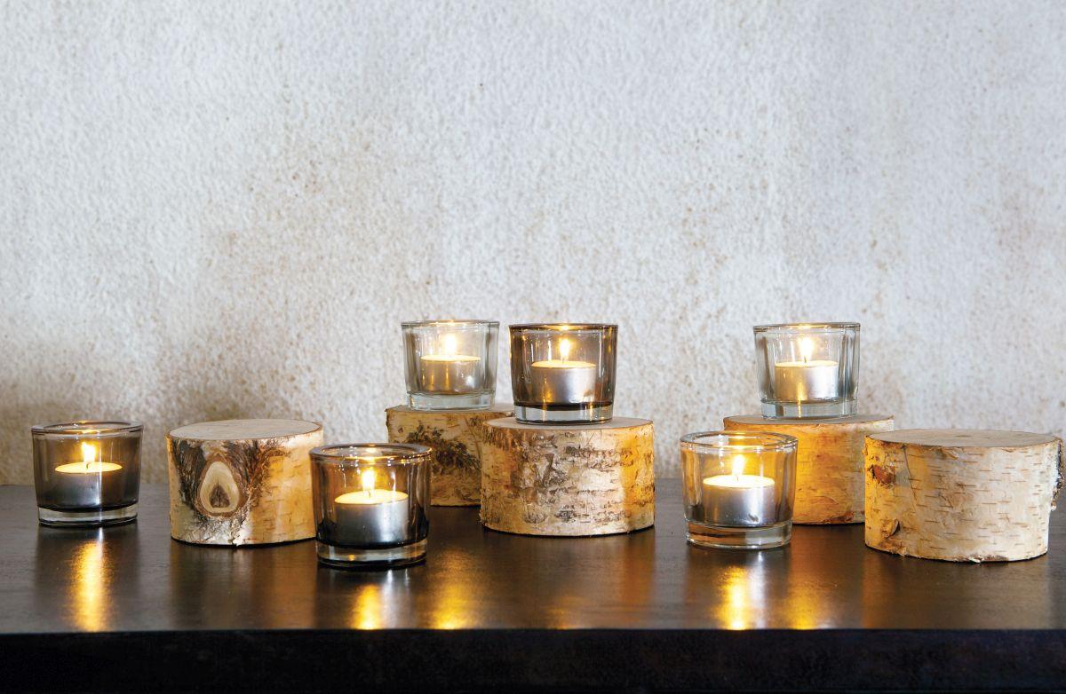 świeczniki na naturalnych drewnianych podstawkach Be Pure