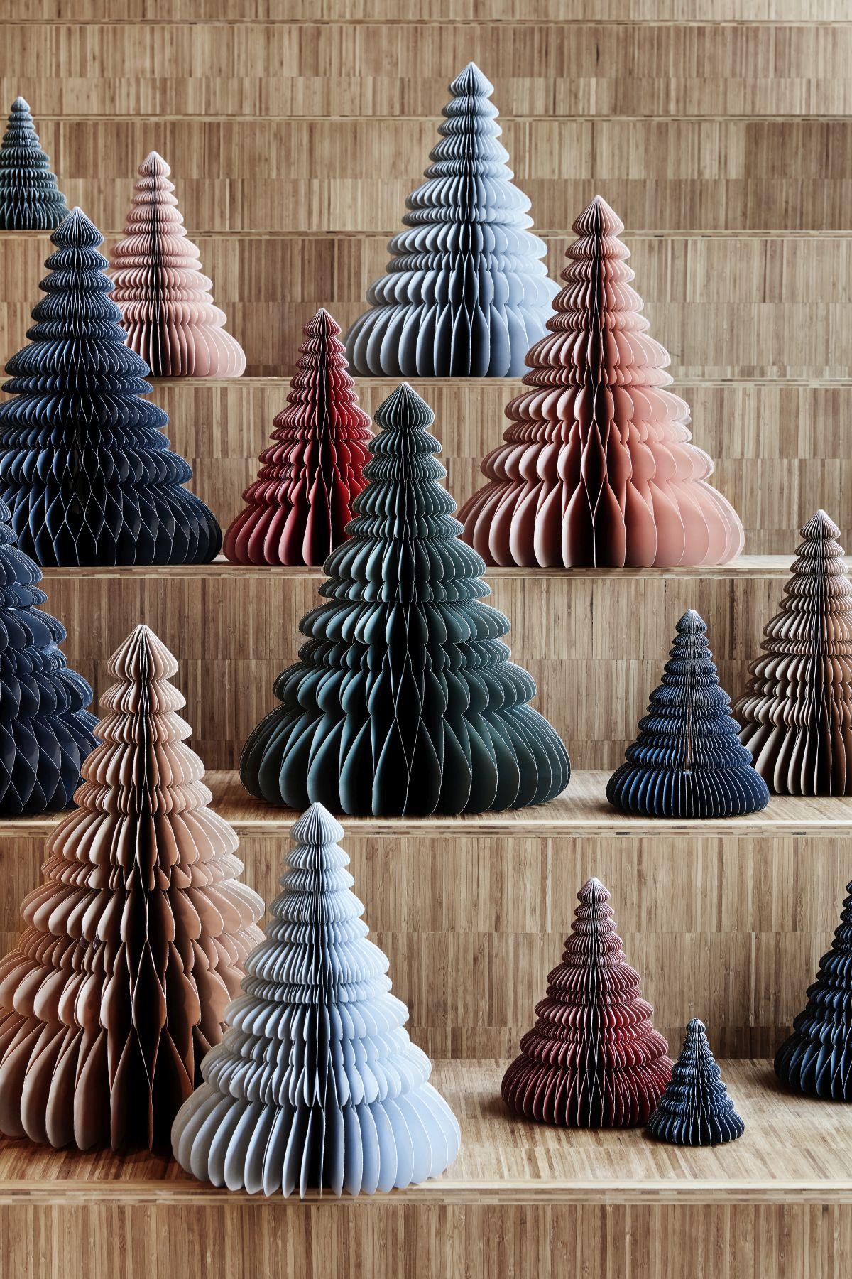 papierowe dekoracje w kształcie drzewka choinki Broste Copenhagen