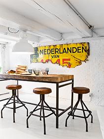 stołki skórzane kuchnia Hkliving